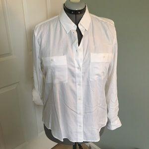 NWT LOFT Outlet White Button down Shirt M